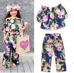 Baby Girl Summer Suits Australia - new 2019 children's suit summer new baby girls print set one word shoulder shirt + bell bottom pants kids clothes