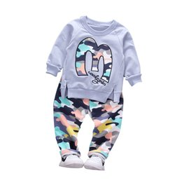 Camouflage pants for boys online shopping - Baby Boy Autumn Clothes Girl Letter M Warm Cotton Clothing Set For Kid Camouflage Jackets Pant Fashion Children Sports Suit