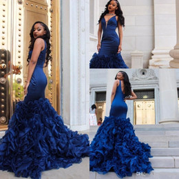 2915b64992a2 Sexy Royal Blue Mermaid Prom Dresses Deep V Neck Ruffle Organza Tiered  Bottom Formal Evening Gown Special Occasion Gowns Custom Made