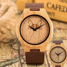 Unique Watches For Men Australia - Natural Maple Quartz Wood Watch for Men Energetic Tree Dog Pattern Wooden Watch with Leather Band for Women Unique No Digital