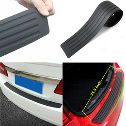 Wholesale 1x Car Rear Bumper Cover Sticker Strip Protector Trunk Sill Scuff Plate Guard Automobiles Exterior Parts Styling Mouldings