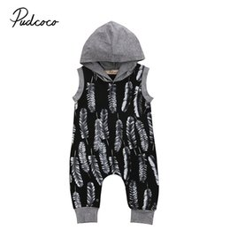 high quality jumpsuits Australia - 0 to 24M Newborn Baby Boys Clothes High Quality Feather Hooded Long Sleeve Romper Jumpsuit Playsuit Outfit Baby Clothing