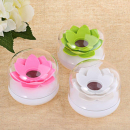 $enCountryForm.capitalKeyWord Australia - Wholesale- Modern Beautiful Lotus Cotton Swab Plastic Box Toothpicks Holder Stand with Transparent Cover Pink White Green High Quality