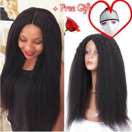 Brown Straight Wig Part Australia - Natural Soft Long Kinky Straight Wig Glueless Lace Front Synthetic Hair Wigs for Women Full Wigs With Baby Hair Natural Black Middle Part