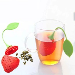 Wholesalers For Teapots NZ - Lovely Fruit Strawberry Shape Silicone Tea Strainer Herbal Spices Leaf Tea Infuser For Loosing Leaf Tea In Teapot MMA1435