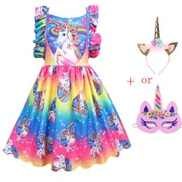 easter clothes for babies Australia - New Baby Unicorn Dress Vestido Children Flamingo Costume Party Kids Headband For Clothes Unicornio Dresses Princess Girls Mask J190615 Wjlk