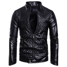 sequin strips Australia - Europe and the United States New Trend 2019 Autumn and Winter New Fashion Style Men's Stand Collar Zipper Cardigan Solid Color Leather Jacke