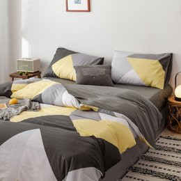 bohemian bedding sets Australia - Nordic simpy100%Cotton Bohemian Stylebrown stripe Classical plaid 4pcs bedding sets Twin Queen King size bed linen duvet cover setbed sheet