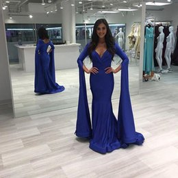 $enCountryForm.capitalKeyWord Australia - 2019 Cheap Simple Royal Blue V Neck Evening Dresses Long Pleat Satin Formal Gown Plus Size Poet Sleeve robes de soirée