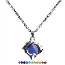 $enCountryForm.capitalKeyWord Australia - Couple dolphin heart changing color women necklace stainless steel thermochromic lover Valentine's Day pendants gifts wholesale with chain