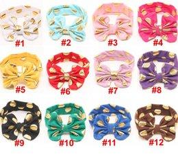 Messy Headbands Australia - Hot Sale Gold Dots Messy Bow Head Wrap , Cotton turban headband hair accessories 6pcs