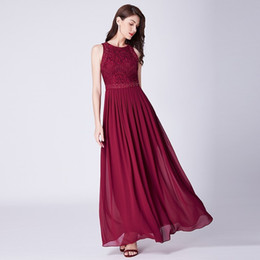 89c7b68f74 2019 Prom Dresses Elegant A-line Sleeveless O-neck Burgundy Lace Appliques  Cheap Long Party Gowns For Guest Gala Jurken Formal Dresses