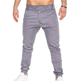 Men Bottoming Australia - 2019 New Fashion Pants Men Casual Buttons Joggers Cargo Qunique Design Mens Tranning Sweatpants Bottom Joggers Trousers