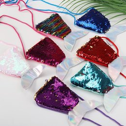 Slung Sequin online shopping - Mermaid Tail Sequins Coin Purse Girls Crossbody Bags Sling Money Change Card Holder Wallet Purse Bag Pouch For Kids Gifts