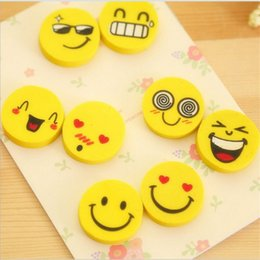 korean stationery eraser UK - Cute Smiling Face Eraser Mini Novelty Korean Creative Stationery School Supplies For Student Gift Prize Correction Supplies 4Pcs\Opp