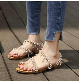 2c16aa0c256f7 Ethnic flat shoEs online shopping - Pearl travel sandals for women Bohemian  ethnic wind water drilling