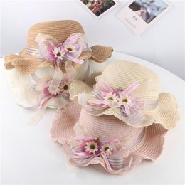 baby cotton sunhats UK - Summer Baby Girls Hat Cap Flowers Ruffle Breathable Hat Straw Kids Bucket Fisherman Cap Kids Boy Girls Hats Beach Sunhat @35