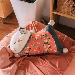 Toys japanese online shopping - The latest Japanese lucky cat plush toy warm arm pillow doll doll lazy sleeping sofa birthday gift
