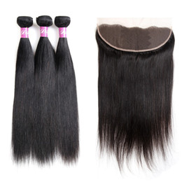 length 28 inch brazilian hair UK - Dilys Peruvian Indian Malaysian 9A Virgin Human Hair Extensions Straight 3 Hair Bundles with 13x4 Ear to Ear Hair Closure Natural Color