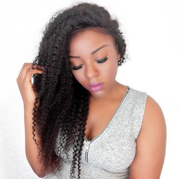 Afro American Hair Australia - Glueless Afro Kinky Curly Full Lace Wig Virgin Mongolian Pre Plucked Cheap Lace Front Afro Kinky Curly Human Hair Wigs For African American