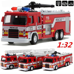 red toy trucks Australia - 1:32 Scale Truck Models Alloy Construction Diecasts Toy Vehicles Pullback Fire Model Truck With Sound Light For Kids Gift
