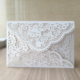Lace invitation card designs online shopping - 50Pcs Luxury Wedding Invitations Cards Romantic Envelope Design Lace Laser Cut Using Anything Events Party Invitation