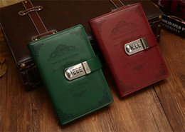 Discount leather bound books - Vintage Lockable Paper PU Leather Note Book Diary With Lock Notebook B6 Traveler Journal Weekly Planner School Stationer