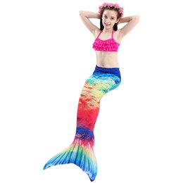 mermaid costume set NZ - TaoBo 3Pcs Set Kids Shorts Bikini Bra Girls Swimming Monofin with Mermaid Tails Swimsuit Kids Cosplay Costume Flipper Girls