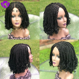 Braiding BoBs wig online shopping - Middle part full density inche Short Bob Synthetic Lace Front braids Wigs for africa women Crochet braided kinkyTwist Wig with curly tips