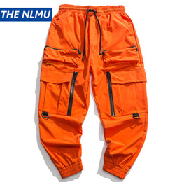 Wholesale baggy pants orange resale online – 2020 Spring Cargo Pants Men Fashion Orange Multi Pockets Baggy Tactical Trousers Hip Hop Casual Pant Streetwear WO095