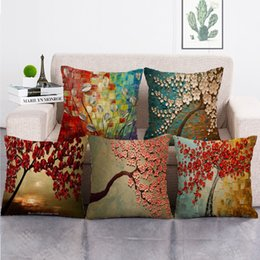 Discount handmade painting sofa cushion 45cm*45cm Square Oil Painting Trees Pillow Covers Cotton Linen Pillow Cases Living Room Sofa Decorative Cushion Covers