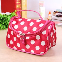 cute waterproof bag Australia - Double Zipper Cute Fashion Women Cosmetic Bag Portable Travel Storage Organizer Waterproof Durable Polka Dot Girls Make Up
