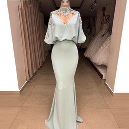 LiLac chiffon bridesmaid dresses short online shopping - Mint Sage Arabic Prom Dresses Half Sleeve High Neck Mermaid Evening Dress Dubai Bridesmaid Gowns