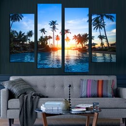 $enCountryForm.capitalKeyWord Australia - Modern Printing Type Poster Canvas Painting 4 Panel Sunrise Seaside Landscape HD Print Wall Art Pictures Modular Home Decoration