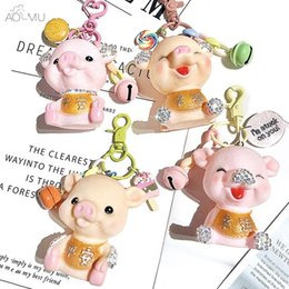 $enCountryForm.capitalKeyWord Australia - Cute Lucky Pig Smile Cartoon Doll Bell Rhinestone Key Chain Car Bag Keyrings Women Girls Pendant Trinket Keychain Jewelry