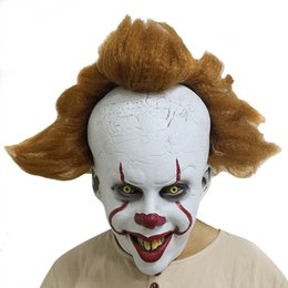 Image decoratIon online shopping - New Halloween Decorations Clown Returning Soul Mask Cos Head Cover Clown Hair Winking Grinning Clown Movie Image Decorations