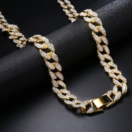 rappers chains NZ - Miami Curb Cuban Chain Necklace Gold Iced Out Paved Rhinestones CZ Bling Rapper Necklaces Men Hip Hop Jewelry