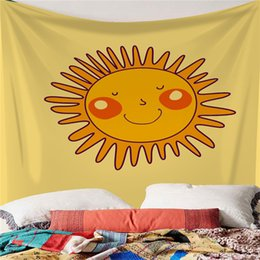 smiling faces decorations UK - Lovely Tapestry Spring Summer Personality Cartoon Smiling Face Ins Tapestry Digital Printing Bedroom Wall Decoration