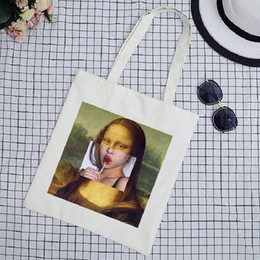 $enCountryForm.capitalKeyWord Australia - Vintage Mona Lisa Fun Print New Fashion Large art Capacity Cartoon Summer Shoulder Bag Canvas women Shoulder Bags shopping bag