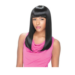 Straight Hair Bangs Hairstyles Australia - soft hairstyle brazilian hair Shoulder length long silky straight wig African Ameri Simulation Human Hair long Straight Wig with bang