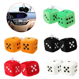 6CM Fuzzy Dice Dots Car Ornament Rear View Mirror Hanger Decoration Car Styling Accessories With Sucker on Sale