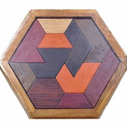 Vintage Toys For Wholesale Australia - hexagon Puzzels Wood Toys for Childrens Educational Blocks Vintage Wooden Toys