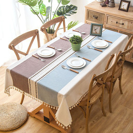 RectangulaR table cloth coveR online shopping - Plaid Decorative Linen Tablecloth With Tassel Waterproof Oilproof Thick Rectangular Wedding Dining Home Decor Table Cover Tea Table Cloth