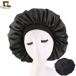 Discount hats for big heads - New Women Big Size Beauty print Satin Silk Bonnet Sleep Night Cap Head Cover Bonnet Hat for For Curly Springy Hair Black