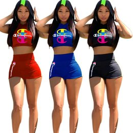 Cropped Tees Australia - Women Champion Tracksuit Summer Sleeveless Hooded Vest + Shorts 2 Pieces Set Crop Tops Tees Shorts Outfits Woman Sports Clothes C51402