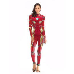 zentai hero cosplay 2019 - Women 3D Printed Superhero Iron man Cosplay Costume Lycra Spandex Superman Cosplay Zentai Holloween Bodysuit Suit cheap