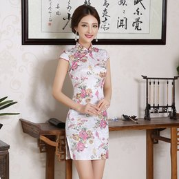 Wholesale peony embroidery for sale - Group buy Umorden Women Chinese Traditional Clothes Dress Cheongsam Qi Pao Silk Embroidery Orchid Peony Flower Print Mini Short Cheongsams