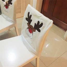 dining tables cover 2019 - 1pc New Christmas Mrs Mr Santa Hat Dining Dinner Table Party Chair Back Covers Party Xmas Table Home House Christmas Dec