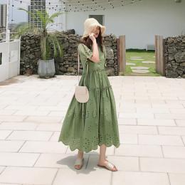 $enCountryForm.capitalKeyWord NZ - Korean version of the new large size women's bubble sleeve dress summer V-neck hollow Crochet Dress Fashion high waist skirt