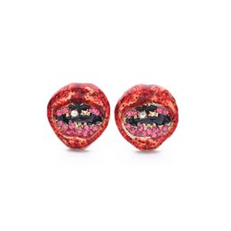 $enCountryForm.capitalKeyWord UK - Bling Bling European and American Popular and Trendy Enamel Drop-oil Lips Big Mouth Stud Earrings for Women E5449